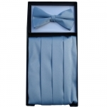 Silver Grey Cummerbund & Bow Tie Set