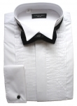 RE-PACKAGED Poly-Cotton Pleated Wing Collar Dress Shirt